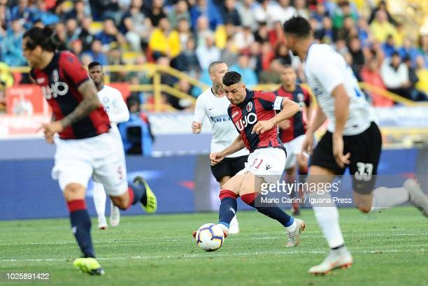Blerim Dzemaili of Bologna FC in action during the serie A match between Bologna FC and FC Internazionale at Stadio Renato Dall'Ara on September 1...