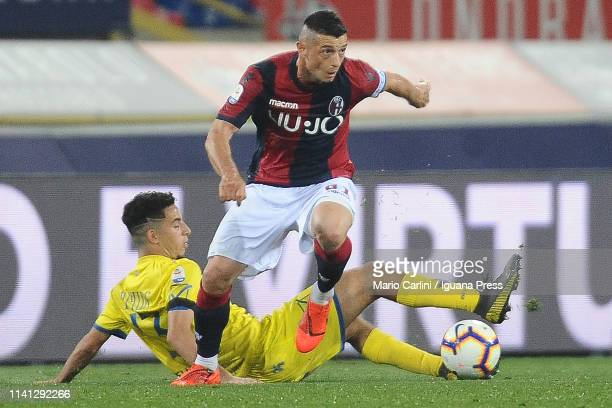 Blerim Dzemaili of Bologna FC in action during the Serie A match between Bologna FC and Chievo at Stadio Renato Dall'Ara on April 08 2019 in Bologna...