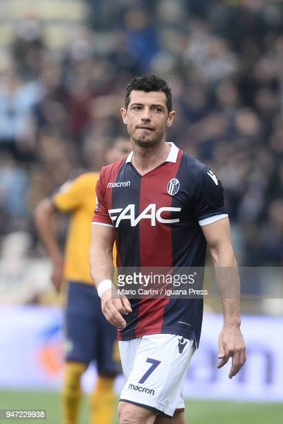 Blerim Dzemaili of Bologna FC looks on during the serie A match between Bologna FC and Hellas Verona FC at Stadio Renato Dall'Ara on April 15 2018 in...