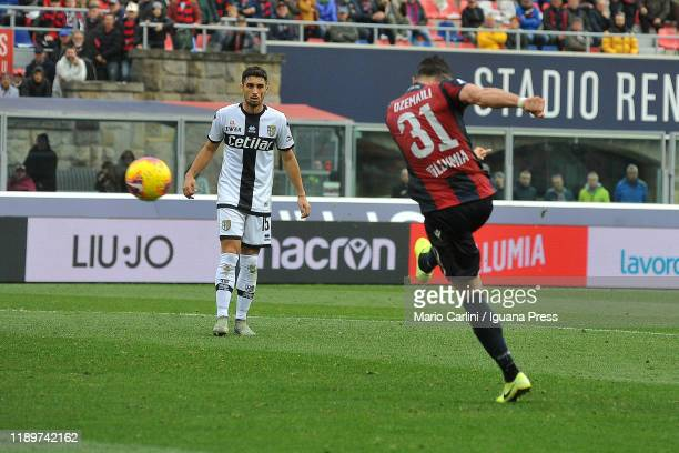 Blerim Dzemaili of Bologna FC scores his team's second goal during the Serie A match between Bologna FC and Parma Calcio at Stadio Renato Dall'Ara on...