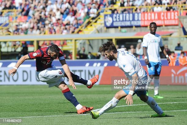 Blerim Dzemaili of Bologna FC shoots towards the goal during the Serie A match between Bologna FC and Empoli at Stadio Renato Dall'Ara on April 27...