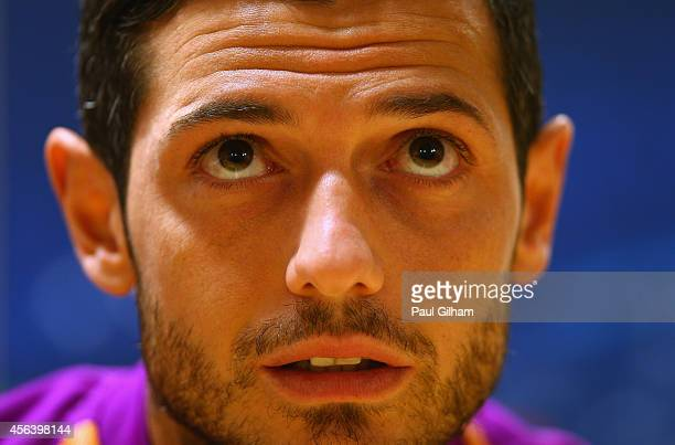 Blerim Dzemaili of Galatasaray talks to the media ahead of a Galatasaray training session ahead of their UEFA Champions League Group D match against...