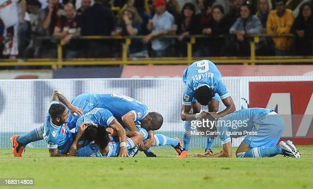 Blerim Dzemaili of SSC Napoli celebrates with his teamates after scoring his team's third goal during the Serie A match between Bologna FC and SSC...