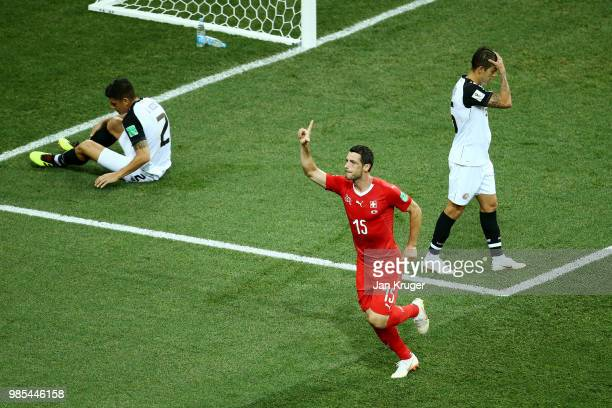 Blerim Dzemaili of Switzerland celebrates after scoring his team's first goal during the 2018 FIFA World Cup Russia group E match between Switzerland...