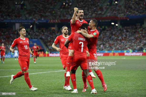 Blerim Dzemaili of Switzerland celebrates with teammates after scoring his team's first goal during the 2018 FIFA World Cup Russia group E match...