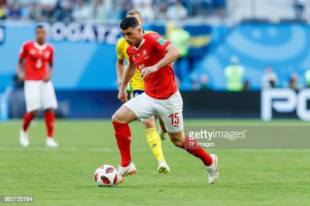 Blerim Dzemaili of Switzerland controls the ball during the 2018 FIFA World Cup Russia Round of 16 match between Sweden and Switzerland at Saint...