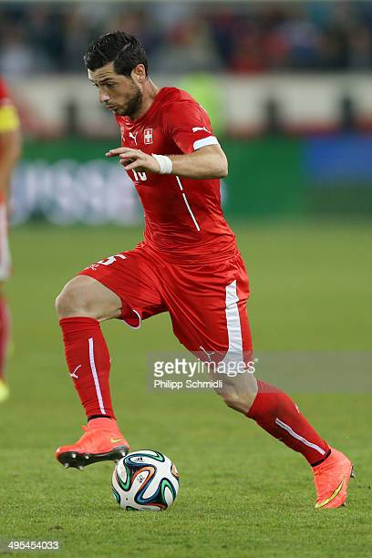 Blerim Dzemaili of Switzerland controls the ball during the international friendly match between Switzerland and Peru at Swissporarena on June 3 2014...