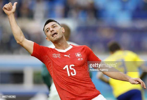 Blerim Dzemaili of Switzerland gestures during the 2018 FIFA World Cup Russia Round of 16 match between Sweden and Switzerland at the Saint...