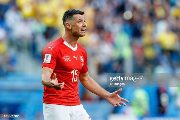 Blerim Dzemaili of Switzerland gestures during the 2018 FIFA World Cup Russia Round of 16 match between Sweden and Switzerland at Saint Petersburg...
