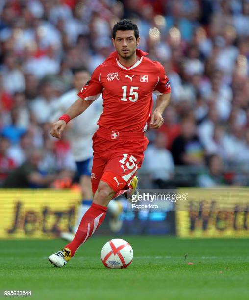 Blerim Dzemaili of Switzerland in action during the UEFA EURO 2012 group G qualifying match between England and Switzerland at Wembley Stadium in...