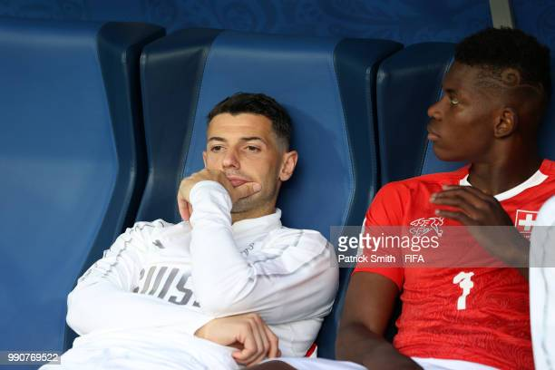 Blerim Dzemaili of Switzerland looks dejected following his sides defeat in the 2018 FIFA World Cup Russia Round of 16 match between Sweden and...