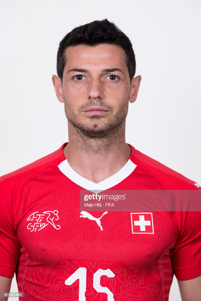 Blerim Dzemaili of Switzerland poses for a portrait during the official FIFA World Cup 2018 portrait session at the Lada Resort on June 12, 2018 in Samara, Russia.