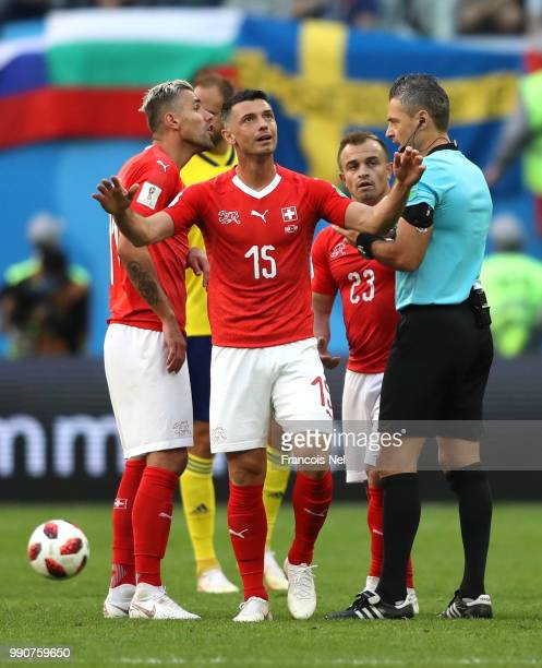 Blerim Dzemaili of Switzerland reacts during the 2018 FIFA World Cup Russia Round of 16 match between Sweden and Switzerland at Saint Petersburg...