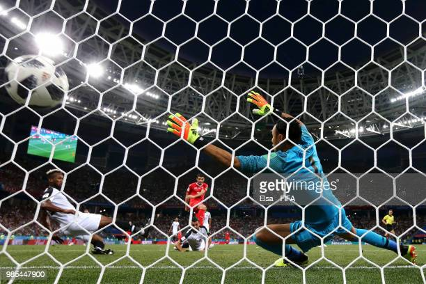 Blerim Dzemaili of Switzerland scores his team's first goal past Keylor Navas of Costa Rica during the 2018 FIFA World Cup Russia group E match...