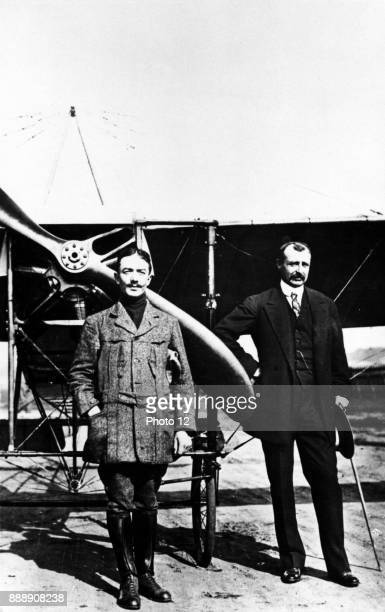 Bleriot Louis 18721936 French aviator and first man to cross English Channel in an airplane July 1909 With him is the French air ace Adolphe Pegoud...