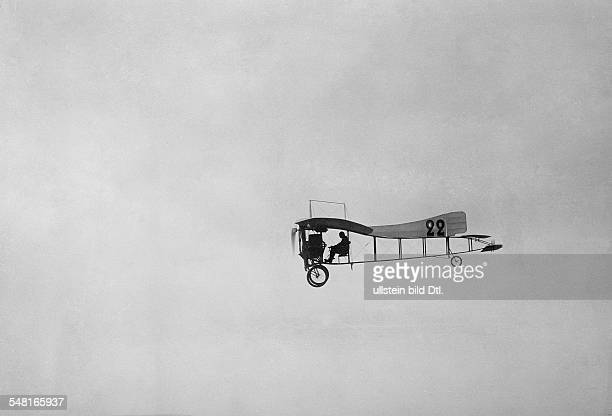 Bleriot Louis Engineer Aviator F *01071872 Betheny near Reims Louis Bleriot during a flight befor his accident ca 1909 Photographer MRol Vintage...