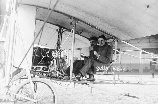 Bleriot Louis Engineer Aviator F *01071872 The first flying tests The aviators Louis Bleriot and Andre Fournier in the monoplane Bleriot XII ca 1909...