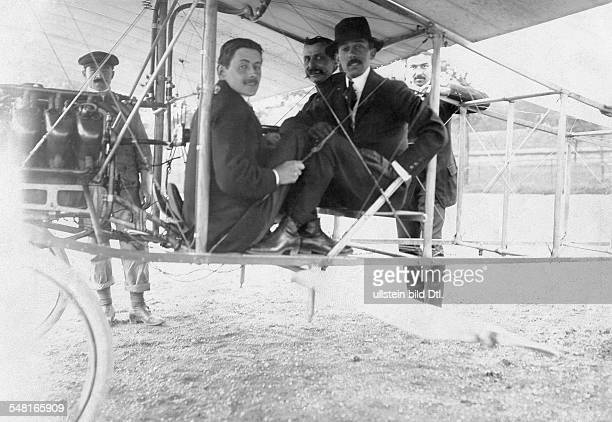 Bleriot Louis Engineer Aviator F *01071872 The first flying tests Louis Bleriot and the aviators Andre Fournier and Santos Dumont on the bord of the...