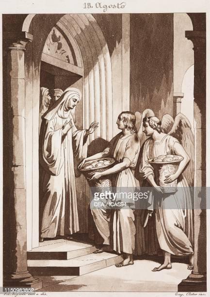 Blessed Clare of Montefalco, Calendar of Saints, August 18, engraving by Gregorio Cleter from Composition artistiques pour tous les jours de l'annee...