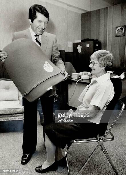 Blessed relief Frank Roberts inventor of a new orthopedic backrest asks 75yearold Ivy Budarick to try it out The device is winning raves from...