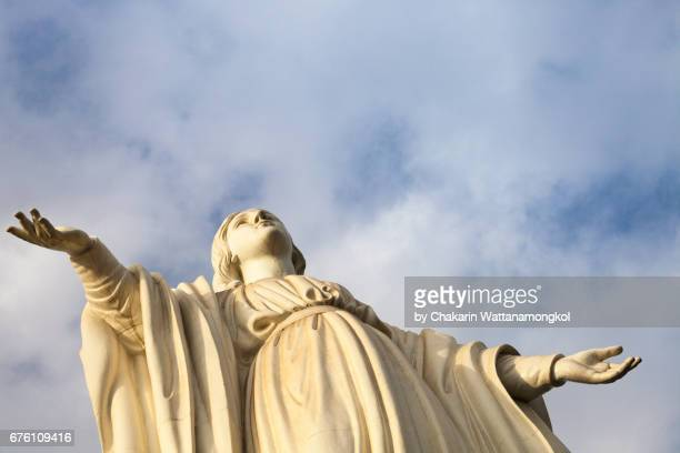 blessed virgin mary and sky background. - la vierge marie photos et images de collection