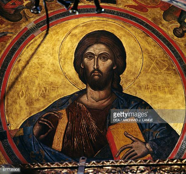 Blessing Christ fresco in the dome of the monastery of St John the Theologian Chora Patmos island Greece