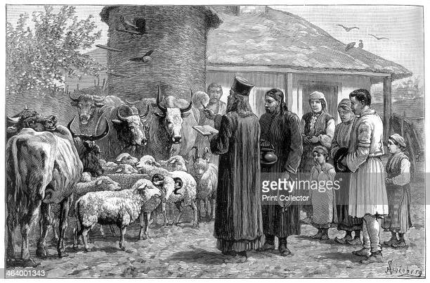Blessing domestic animals Bulgaria 1887 A print from The Illustrated London News 12th Febuary 1887
