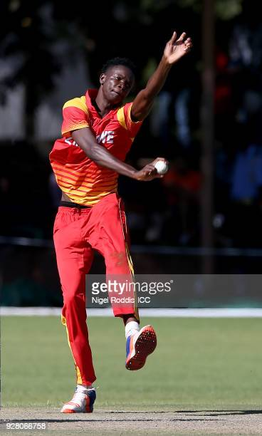 Blessing Muzarabani of Zimbabwe bowls during the ICC Cricket World Cup Qualifier between Zimbabwe and Afghanistan at Queens Sorts Club on March 6...