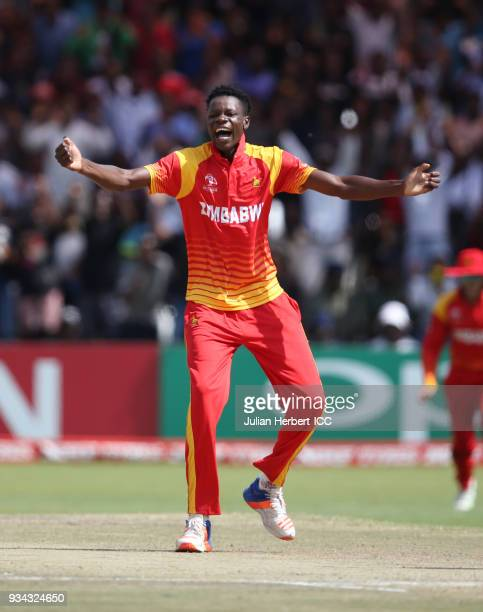 Blessing Muzarabani of Zimbabwe celebrates the wicket of Chris Gayle of The West Indies during The Cricket World Cup Qualifier between The West...