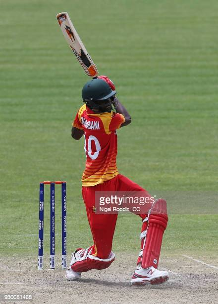 Blessing Muzarabani of Zimbabwe during the ICC Cricket World Cup Qualifier between Zimbabwe and Afghanistan at Queens Sorts Club on March 10 2018 in...