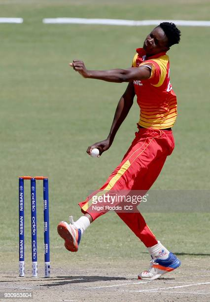 Blessing Muzarabani of Zimbabwe during the ICC Cricket World Cup Qualifier between Zimbabwe and Scotland at Queens Sorts Club on March 12 2018 in...