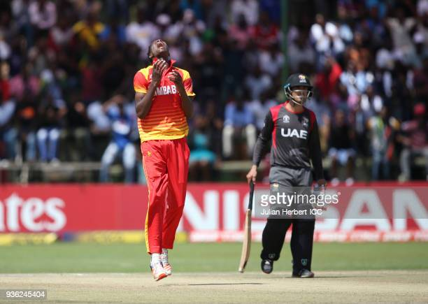 Blessing Muzarabani of Zimbabwe during The ICC Cricket World Cup Qualifier between the UAE and Zimbabwe at THe Harare Sports Club on March 22 2018 in...