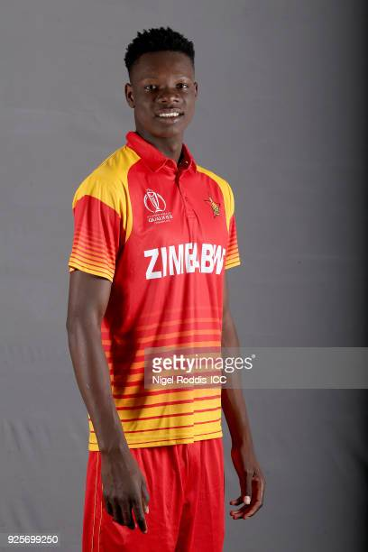 Blessing Muzarabani of Zimbabwe poses for a picture during the Zimbabwe Portrait Session for the ICC Cricket World Cup Qualifier at The Holiday Inn...