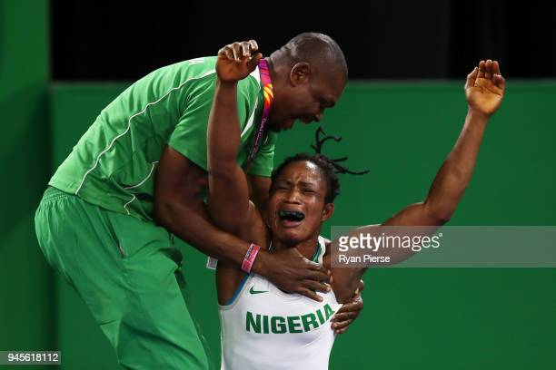 Blessing Oborududu of Nigeria celebrates victory over Danielle Lappage of Canada in the Women's Freestyle 68 kg Gold Medal match on day nine of the...