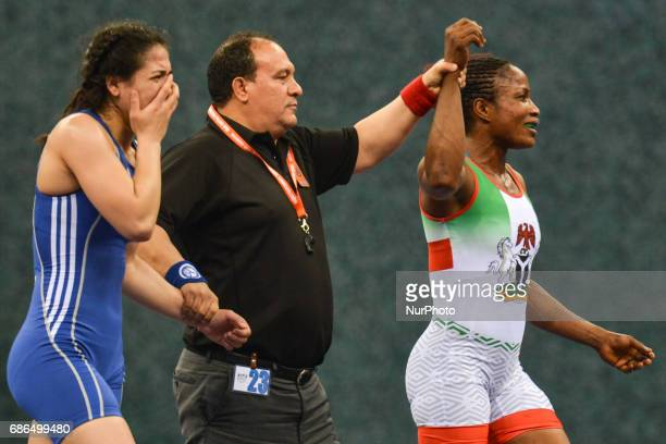 Blessing Oborududu of Nigeria wins against Hafize Sahin of Turkey in the Women's Freestyle 63kg Wrestling final during Baku 2017 4th Islamic...