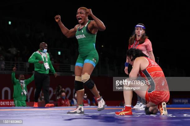 Blessing Oborududu of Team Nigeria celebrates after defeating Battsetseg Soronzonbold of Team Mongolia during the Women's Freestyle 68kg Semifinal on...