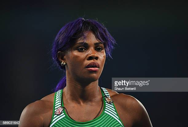 Blessing Okagbare of Nigeria ahead of the Women's 100m Round 1 on Day 7 of the Rio 2016 Olympic Games at the Olympic Stadium on August 12 2016 in Rio...