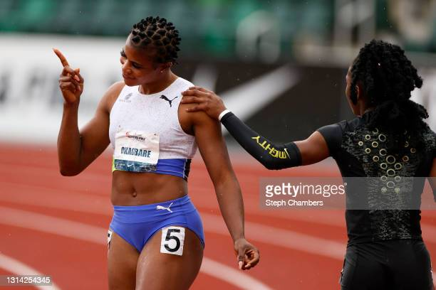 Blessing Okagbare of Nigeria reacts after winning the 100 meter final during the USATF Grand Prix at Hayward Field on April 24, 2021 in Eugene,...