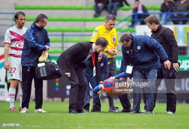 Blessure Pierre Alain FRAU - - Caen / Bordeaux - 31e journee de Ligue 1. Photo: Dave Winter / Icon Sport.