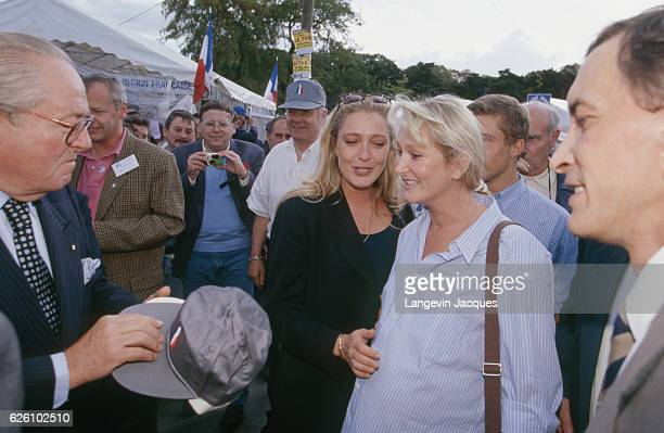 """Bleu blanc rouge"" celebration of the French far rightwing and nationalist politician founder and President of the National Front JeanMarie Le Pen..."