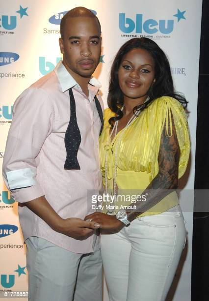 Bleu Magazine Publisher Devon Christopher and recording artist JackieO attend Bleu Magazine's 2nd anniversary celebration at The Samsung Experience...