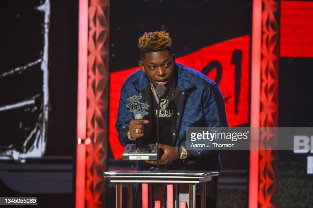 Bleu speaks onstage during the 2021 BET Hip Hop Awards at Cobb Energy Performing Arts Centre on October 01, 2021 in Atlanta, Georgia.