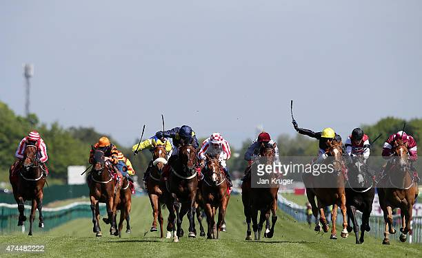 Blhadawa ridden by Luke MorrisDark Blue yellow spots wins the Betfred TV EBF Stallions Stakes at Haydock racecourse on May 23 2015 in Haydock England