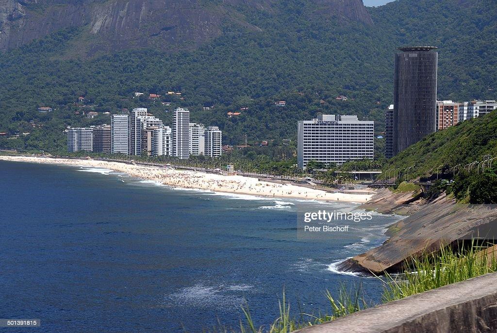 Blick Auf Den Strand Copacabana Hotel Intercontinental Mit Der Küsten