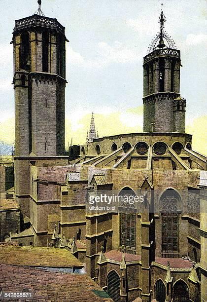 Blick auf die Kathedrale Colorierte Postkarte ohne Jahr