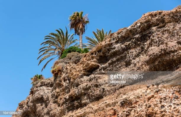 Blick auf Erosionsschaeden am Strand in der Naehe von Morro Jable auf der kanarischen Insel Fuerteventura in Spanien. Gestein wird von der Kueste...