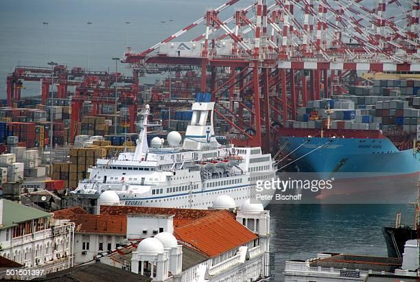 """Blick auf Kreuzfahrtschiff MS """"Astoria"""" auf Containerschiff, Hafen, Colombo, Sri Lanka, Asien, Schiff, Reise, BB, DIG; P.-Nr.: 603/2008, ;"""