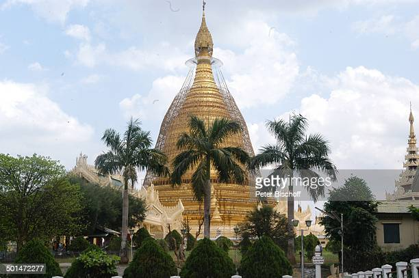 Blick auf Nebenturm Goldene Shwedagon Pagode davor Palmen Yangon Hauptstadt von Myanmar Asien TempelAnlage vergoldet Auto Reise NB DIG PNr 214/2005