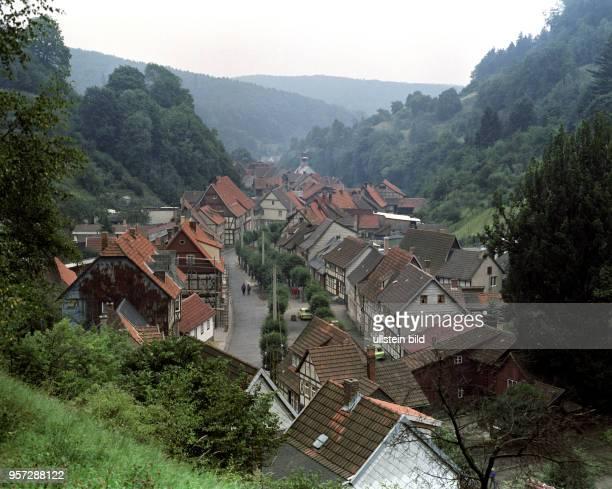 Blick auf Stolberg im Südharz aufgenommen 1985 Die Kleinstadt ist bekannt für ihre Vielfalt an historischer Fachwerkarchitektur