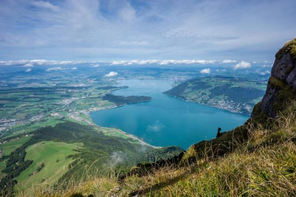 Blick vom Rigi in Richtung Stadt Zug und Zürich
